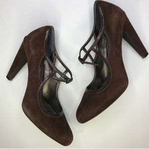 PAOLO Brown Suede Heels Criss Cross Buckle Size 8